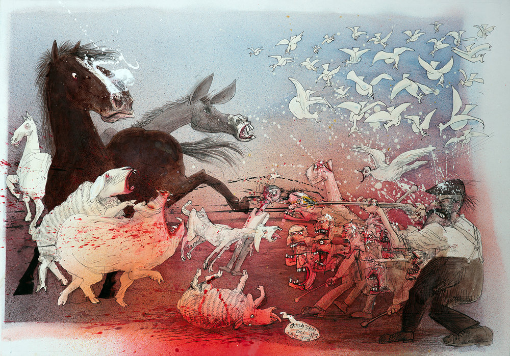 Ralph Steadman, Animal Farm - Revolution , 1995, ink on paper, 24 x 34.5 in.